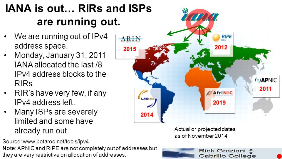 © We are running out of IPv4 address space. Monday, January 31, 2011 IANA allocated the last /8 IPv4 address blocks to the RIRs. RIR's have very few,