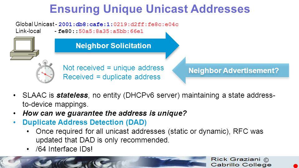 © Global Unicast - 2001:db8:cafe:1:0219:d2ff:fe8c:e04c Link-local - fe80::50a5:8a35:a5bb:66e1 Neighbor Advertisement? Neighbor Solicitation Ensuring U