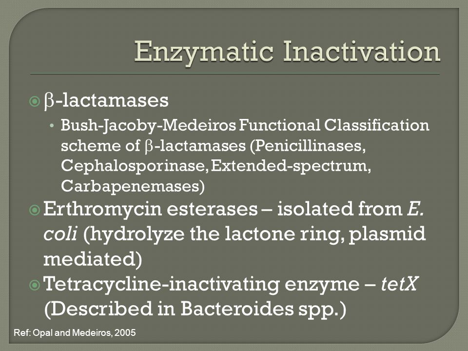   -lactamases Bush-Jacoby-Medeiros Functional Classification scheme of  -lactamases (Penicillinases, Cephalosporinase, Extended-spectrum, Carbapenemases)  Erthromycin esterases – isolated from E.