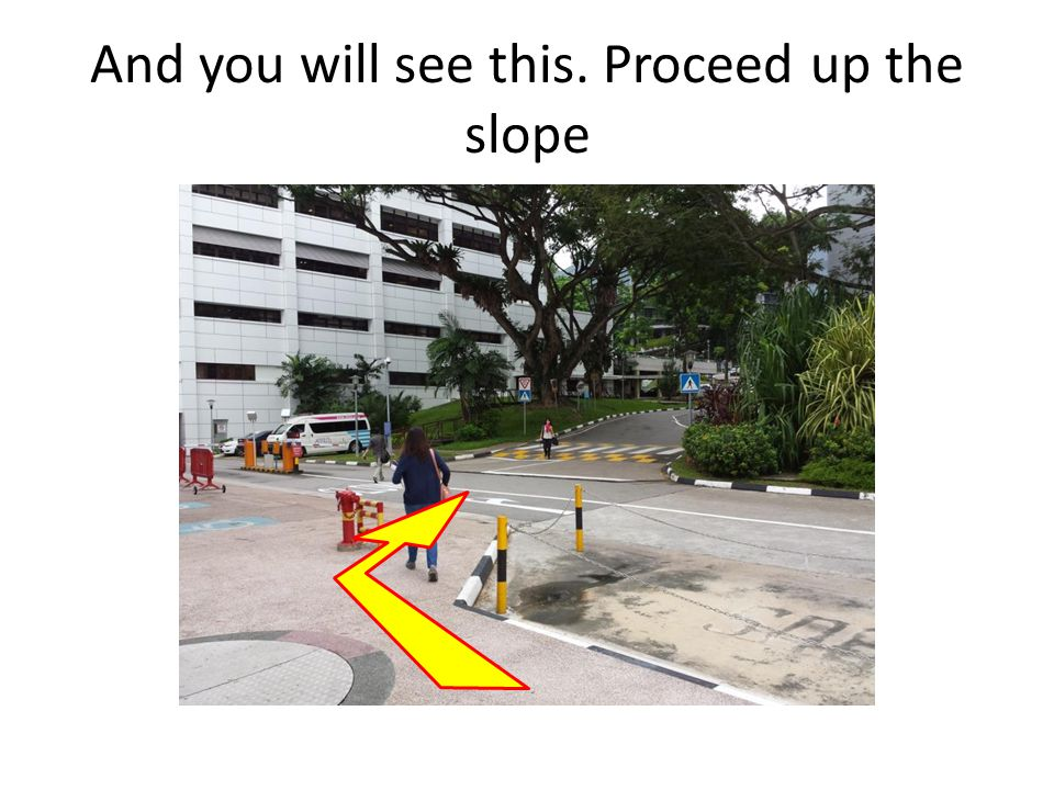 And you will see this. Proceed up the slope