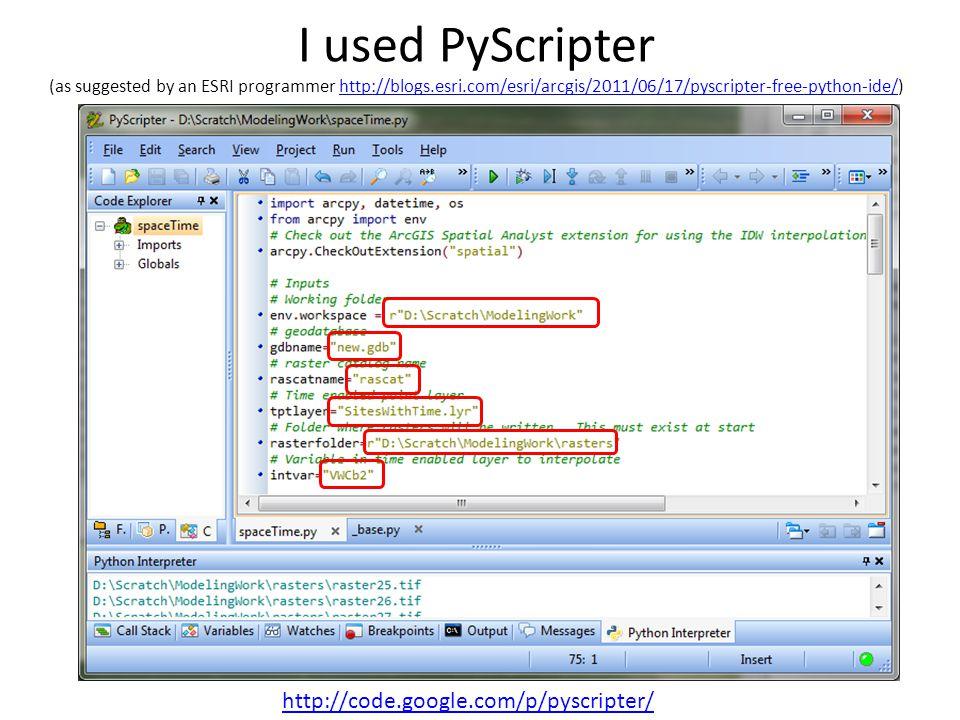 I used PyScripter (as suggested by an ESRI programmer http://blogs.esri.com/esri/arcgis/2011/06/17/pyscripter-free-python-ide/)http://blogs.esri.com/e