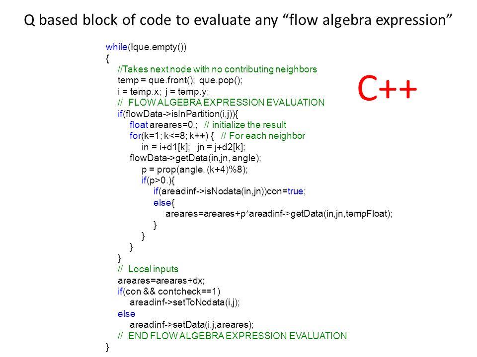 while(!que.empty()) { //Takes next node with no contributing neighbors temp = que.front(); que.pop(); i = temp.x;j = temp.y; // FLOW ALGEBRA EXPRESSIO