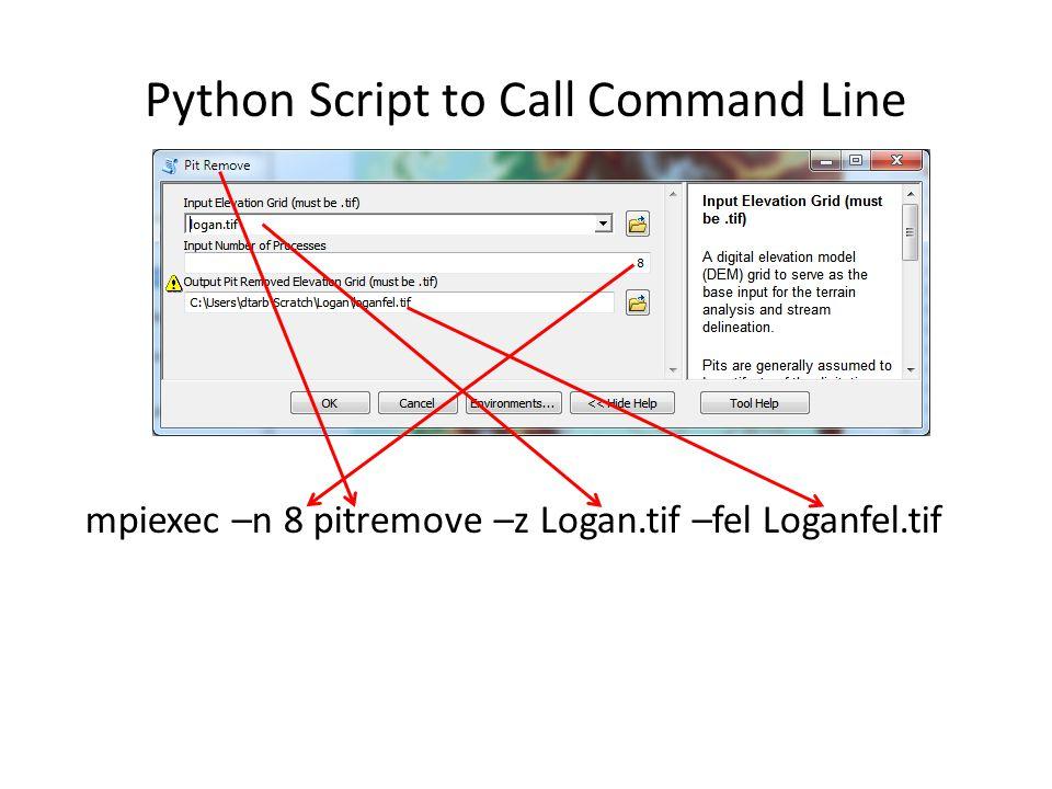 Python Script to Call Command Line mpiexec –n 8 pitremove –z Logan.tif –fel Loganfel.tif