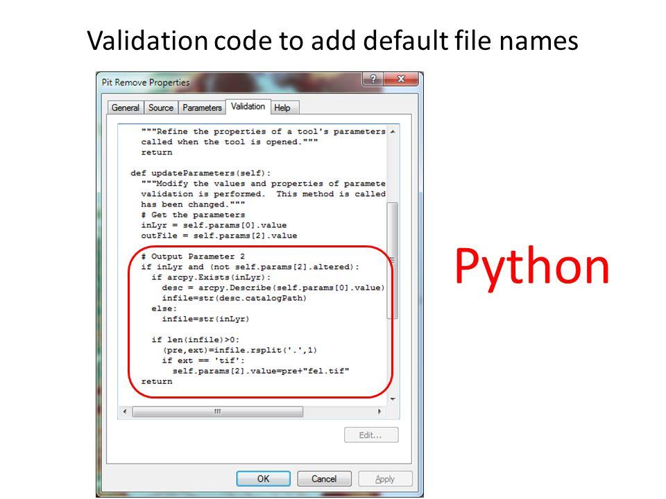 Validation code to add default file names Python