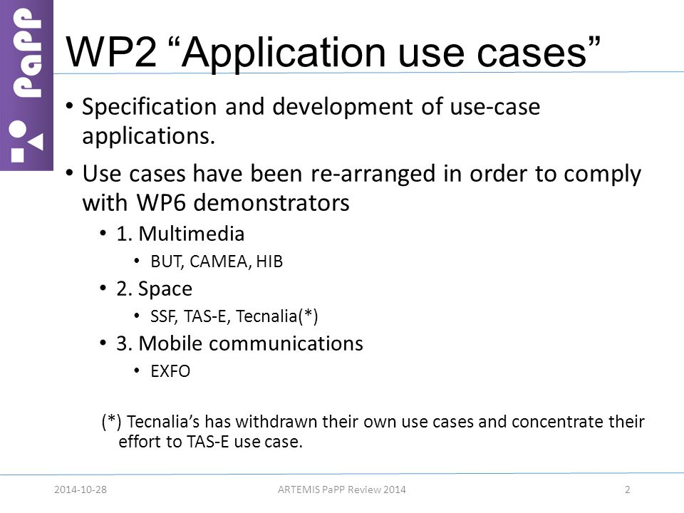WP2 Application use cases Specification and development of use-case applications.