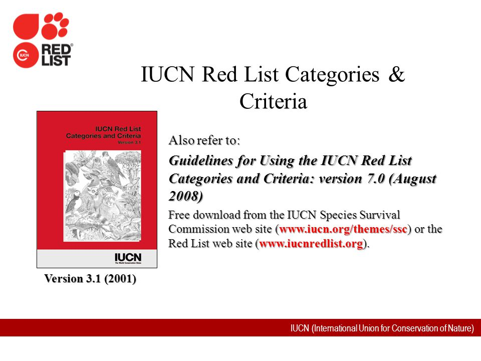 IUCN (International Union for Conservation of Nature) Version 2.3 (1994) Also refer to: Guidelines for Using the IUCN Red List Categories and Criteria