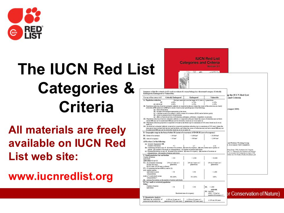 IUCN (International Union for Conservation of Nature) The IUCN Red List Categories & Criteria All materials are freely available on IUCN Red List web