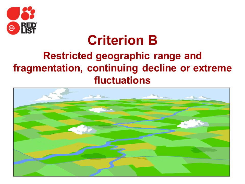 IUCN (International Union for Conservation of Nature) Criterion B Restricted geographic range and fragmentation, continuing decline or extreme fluctua