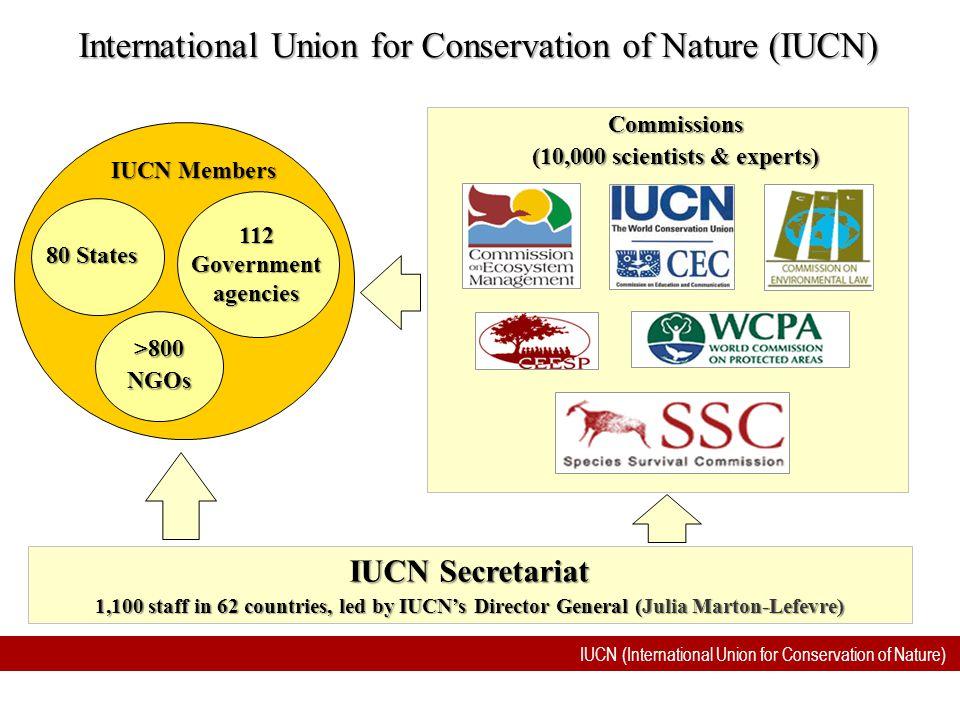 IUCN (International Union for Conservation of Nature) International Union for Conservation of Nature (IUCN) IUCN Secretariat 1,100 staff in 62 countri