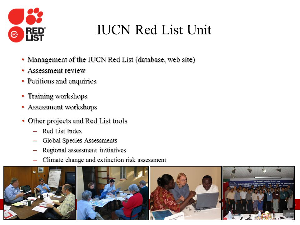 IUCN (International Union for Conservation of Nature) Management of the IUCN Red List (database, web site) Management of the IUCN Red List (database,