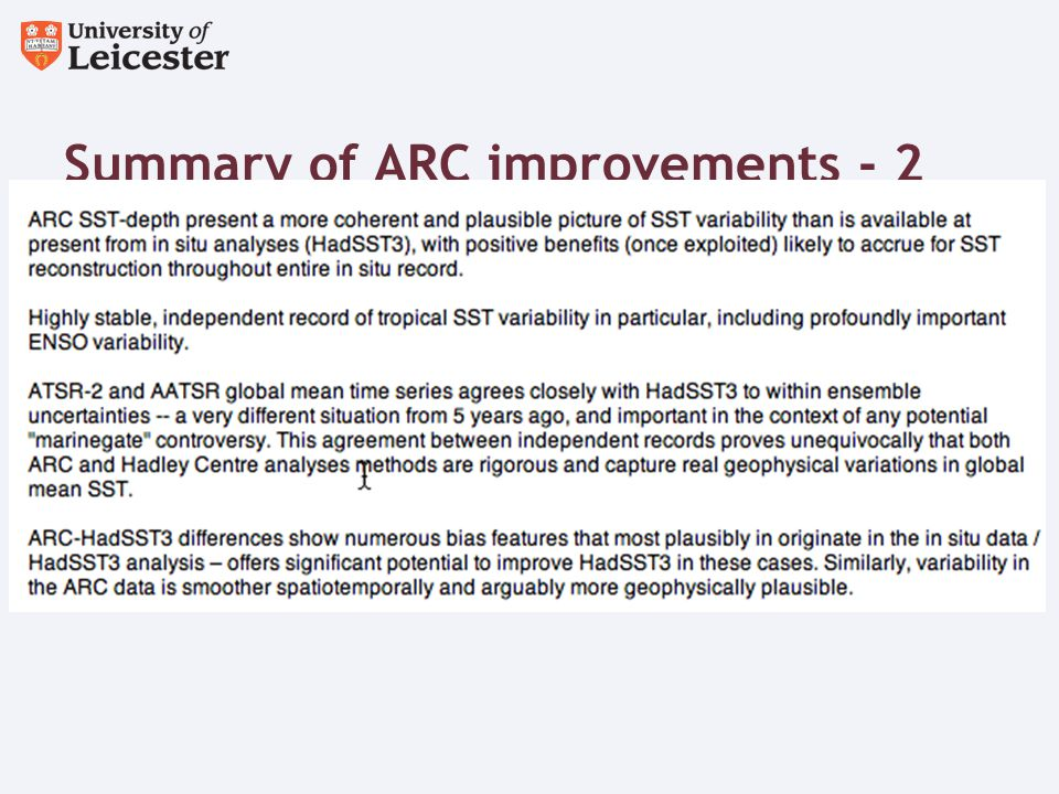 Summary of ARC improvements - 2