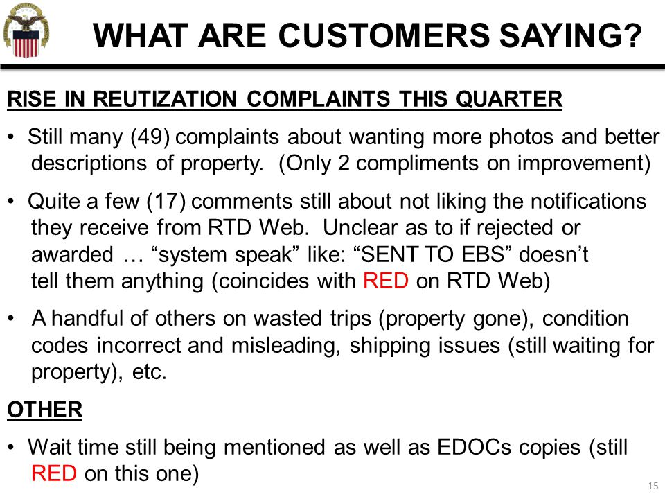 15 WHAT ARE CUSTOMERS SAYING? RISE IN REUTIZATION COMPLAINTS THIS QUARTER Still many (49) complaints about wanting more photos and better descriptions