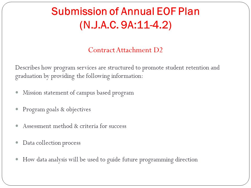 Submission of Annual EOF Plan (N.J.A.C.