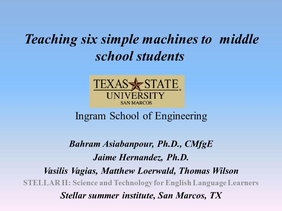 Teaching six simple machines to middle school students Ingram School of Engineering Bahram Asiabanpour, Ph.D., CMfgE Jaime Hernandez, Ph.D.
