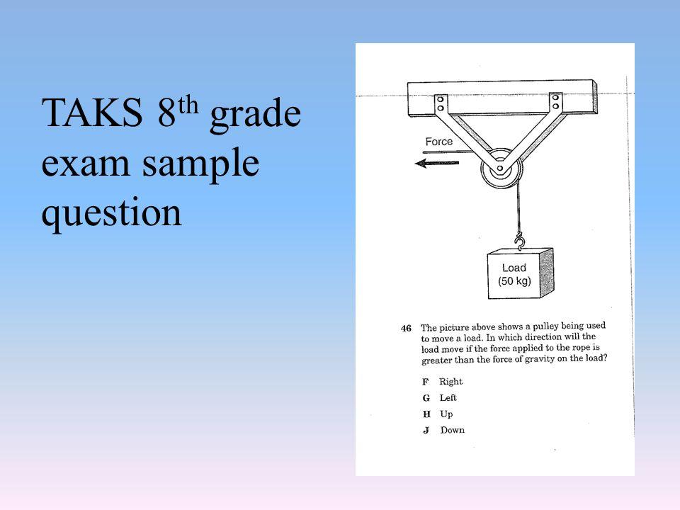 TAKS 8 th grade exam sample question