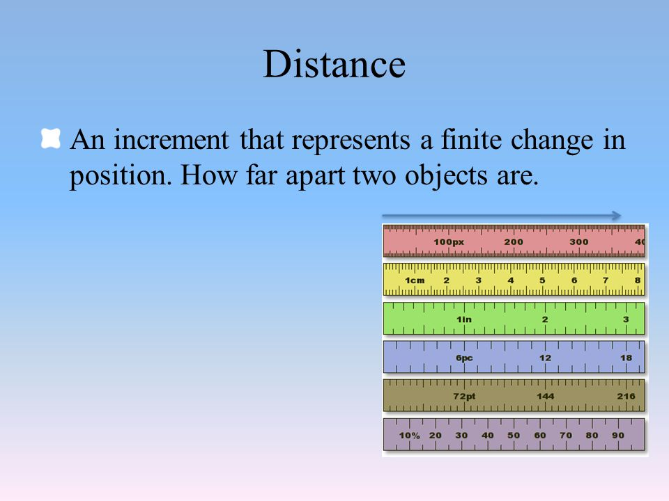 Distance An increment that represents a finite change in position. How far apart two objects are.