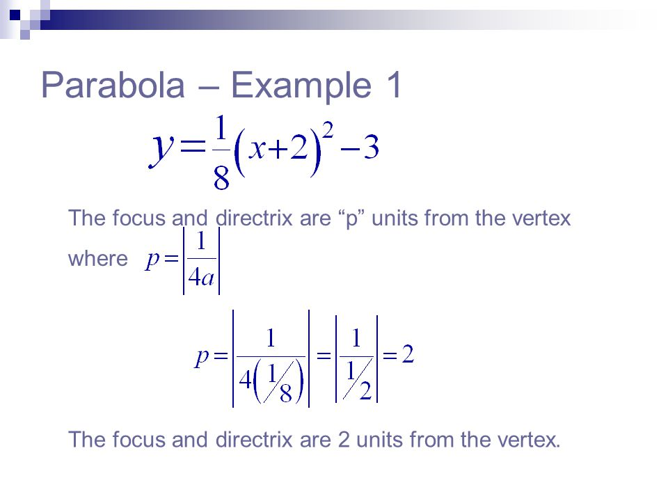 """Parabola – Example 1 The focus and directrix are """"p"""" units from the vertex where The focus and directrix are 2 units from the vertex."""