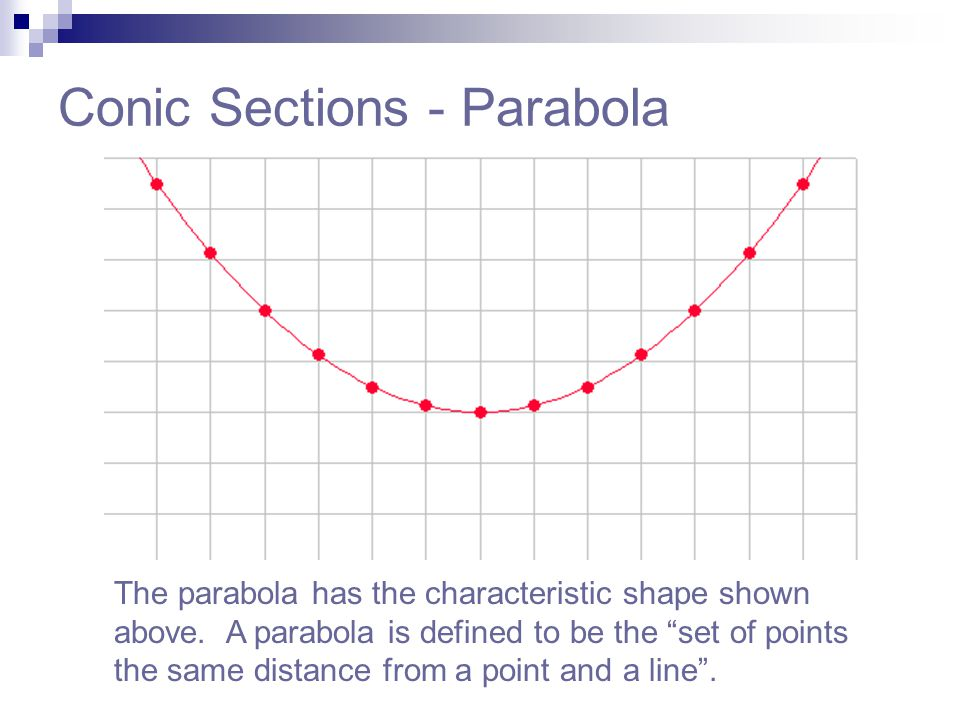 """Conic Sections - Parabola The parabola has the characteristic shape shown above. A parabola is defined to be the """"set of points the same distance from"""