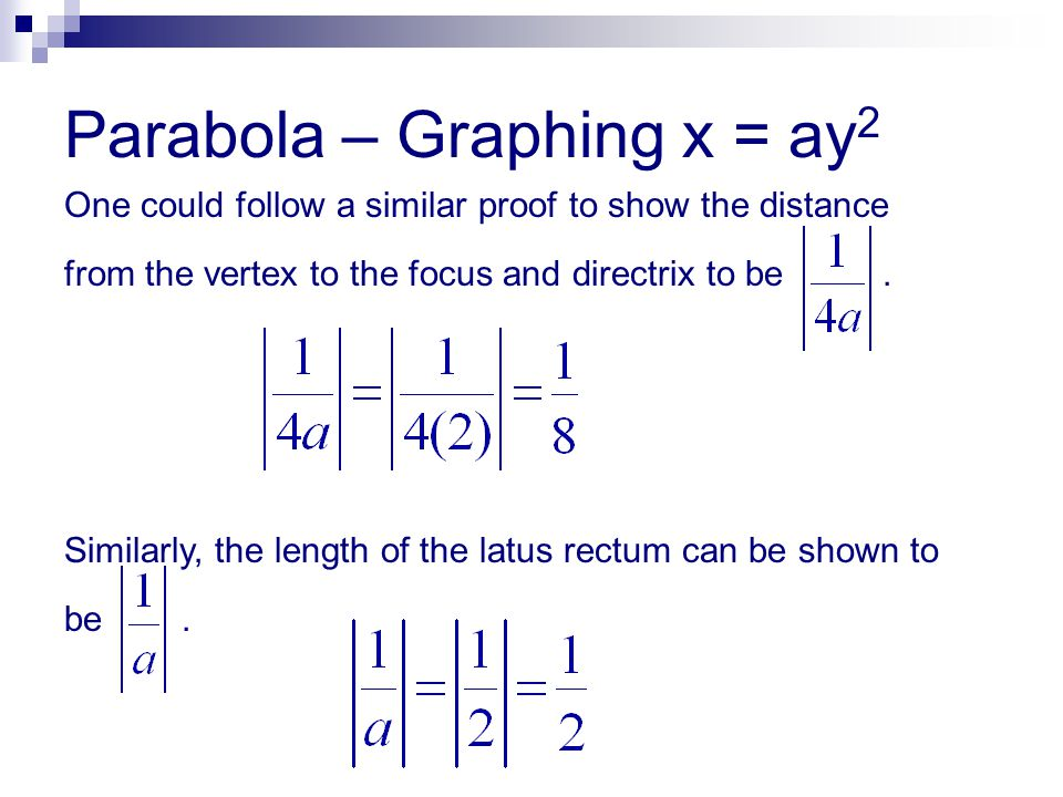 Parabola – Graphing x = ay 2 One could follow a similar proof to show the distance from the vertex to the focus and directrix to be. Similarly, the le