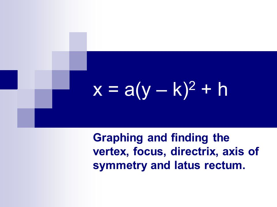 x = a(y – k) 2 + h Graphing and finding the vertex, focus, directrix, axis of symmetry and latus rectum.