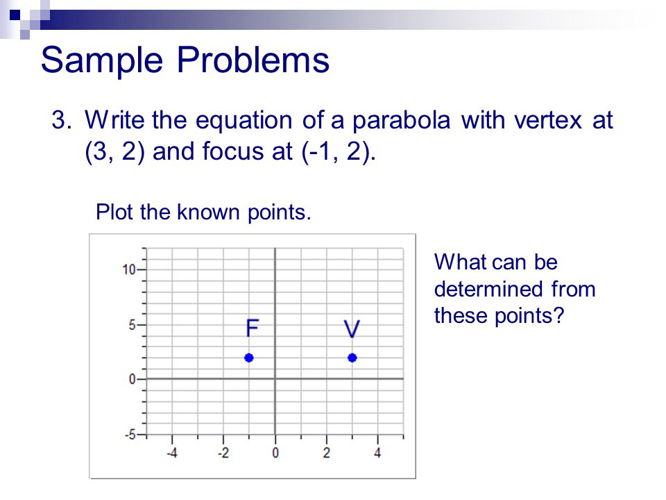 Sample Problems 3.Write the equation of a parabola with vertex at (3, 2) and focus at (-1, 2). Plot the known points. What can be determined from thes