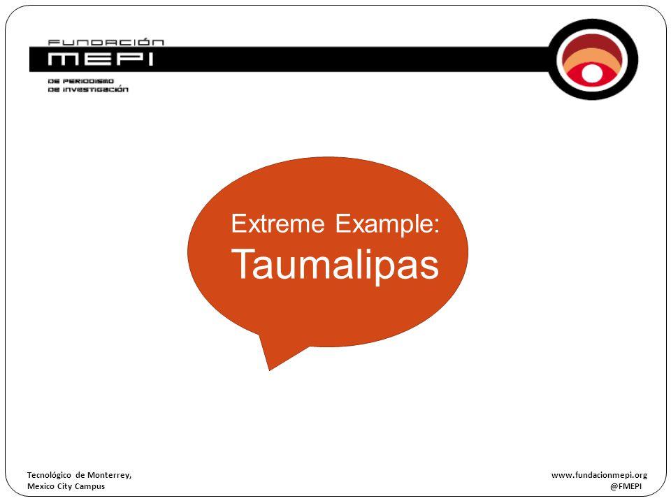 Tecnológico de Monterrey, www.fundacionmepi.org Mexico City Campus @FMEPI ORIGEN OF THE INVESTIGATION Extreme Example: Taumalipas