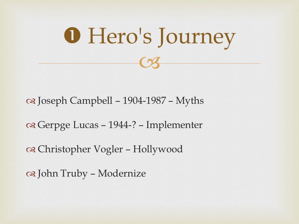   Joseph Campbell – 1904-1987 – Myths  Gerpge Lucas – 1944-? – Implementer  Christopher Vogler – Hollywood  John Truby – Modernize  Hero's Journ