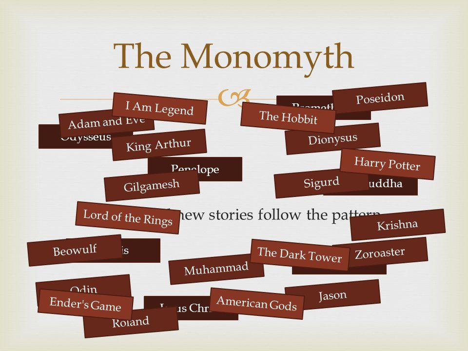  Both old and new stories follow the pattern. The Monomyth Odysseus Penelope Prometheus The Buddha Osiris Jesus Christ Telemachus Adam and Eve Gilgam