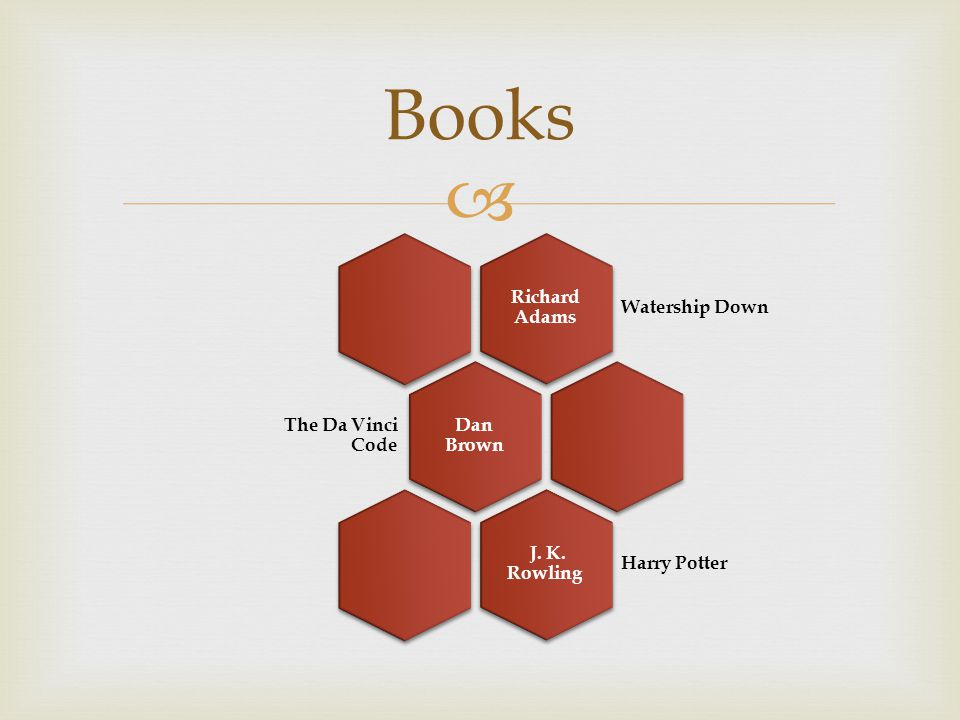  Books Richard Adams Watership Down Dan Brown The Da Vinci Code J. K. Rowling Harry Potter