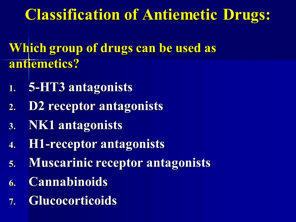 Classification of Antiemetic Drugs: Which group of drugs can be used as antiemetics? 1. 5-HT3 antagonists 2. D2 receptor antagonists 3. NK1 antagonist