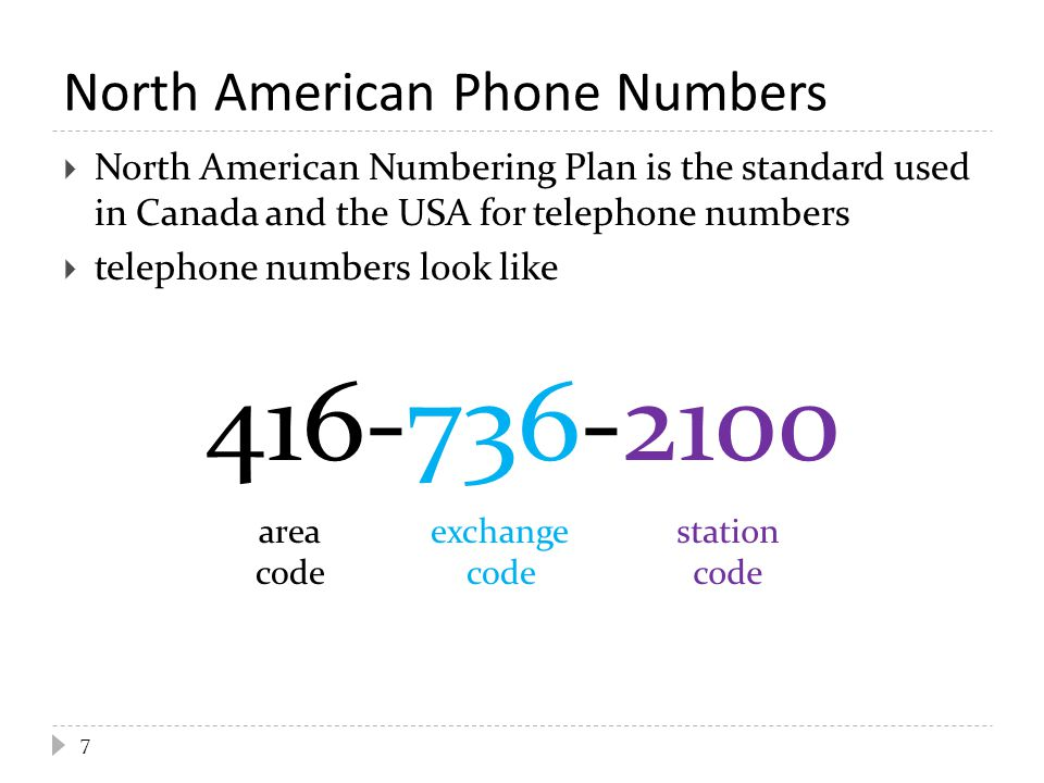 North American Phone Numbers  North American Numbering Plan is the standard used in Canada and the USA for telephone numbers  telephone numbers look like 416-736-2100 7 area code exchange code station code