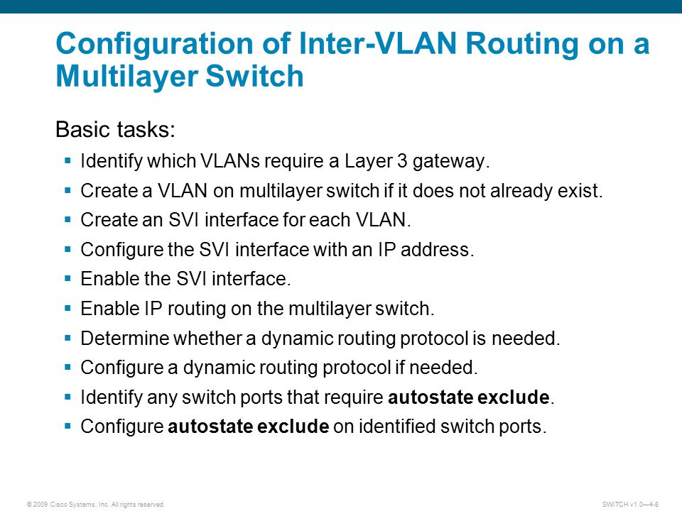 © 2009 Cisco Systems, Inc. All rights reserved. SWITCH v1.0—4-8 Configuration of Inter-VLAN Routing on a Multilayer Switch Basic tasks:  Identify whi