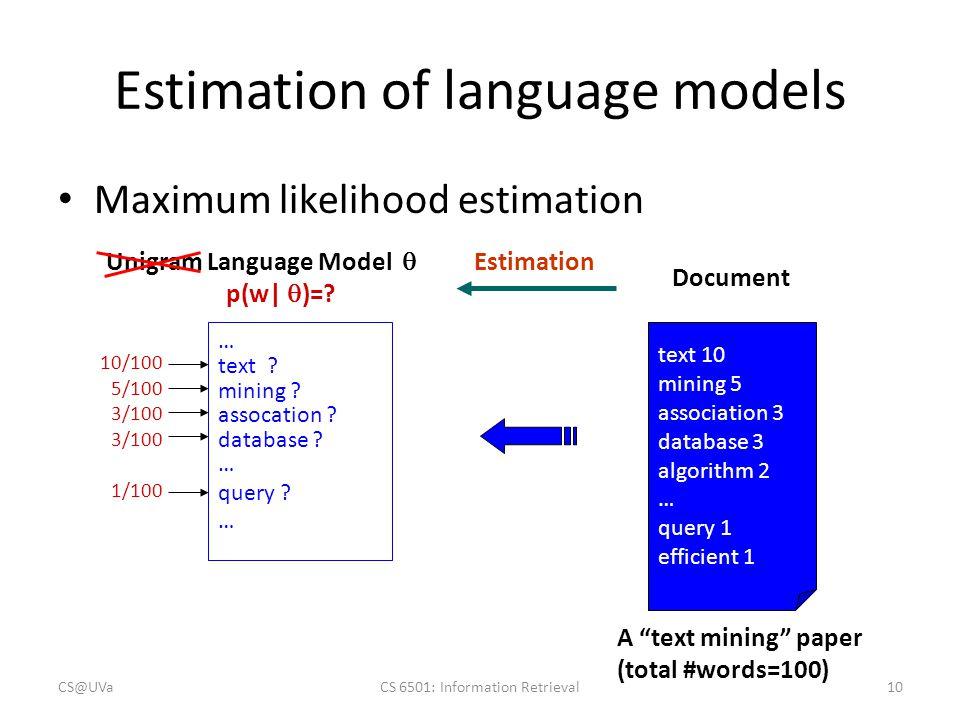 Estimation of language models Maximum likelihood estimation Unigram Language Model  p(w   )=? Document text 10 mining 5 association 3 database 3 alg