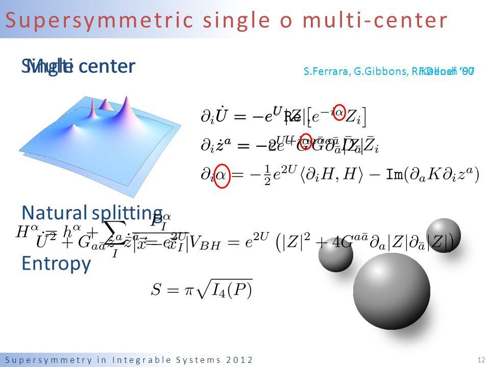 Supersymmetric single o multi-center Single center Natural splitting Entropy Supersymmetry in Integrable Systems 2012 12 Multi center S.Ferrara, G.Gibbons, R.Kallosh '97F.Denef '00