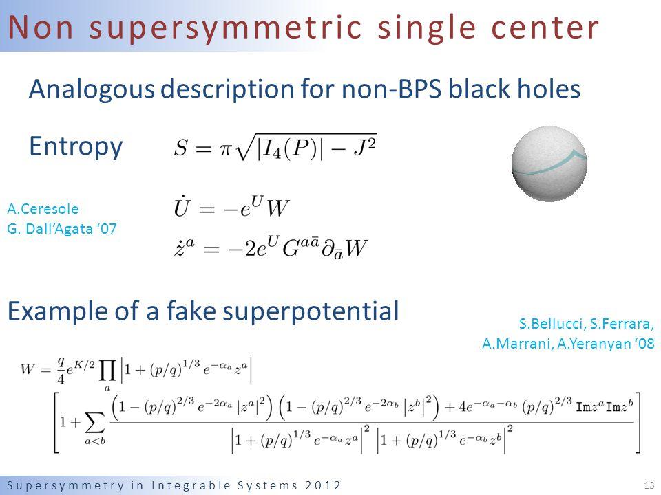 Non supersymmetric single center Analogous description for non-BPS black holes Entropy Supersymmetry in Integrable Systems 2012 13 A.Ceresole G.