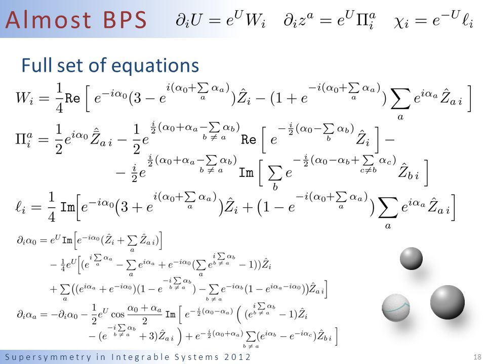 Almost BPS Supersymmetry in Integrable Systems 2012 18 Full set of equations