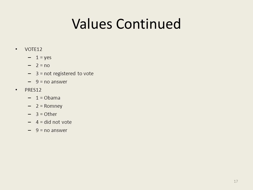 Values Continued VOTE12 – 1 = yes – 2 = no – 3 = not registered to vote – 9 = no answer PRES12 – 1 = Obama – 2 = Romney – 3 = Other – 4 = did not vote