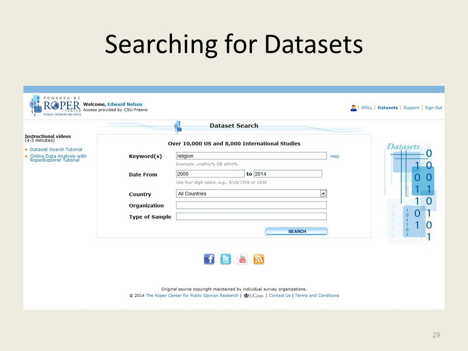 Searching for Datasets 29