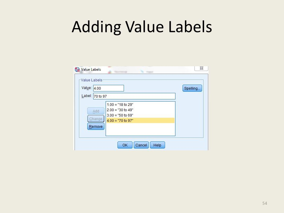 Adding Value Labels 54