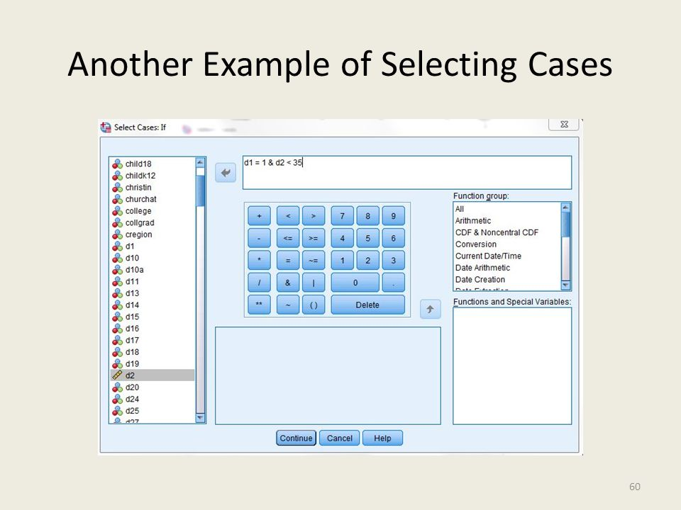 Another Example of Selecting Cases 60