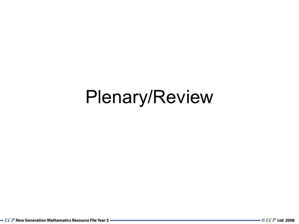 Plenary/Review
