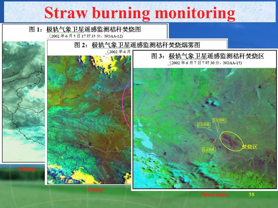 57 Forest fire monitoring 河南省森林火点遥感监测通报 卫星 : NOAA 14 监测时间 : 2001 年 3 月 12 日 16:45 亚像元 序号 像元 面积 ( 亩 ) 经度 纬度 温度 K 地 点 1 1 2.43 114.29 36.12 301.0 安阳市 2 1 3.21 113.04 34.83 301.3 巩义市 3 1 4.13 111.04 34.46 302.8 灵宝市 林区 4 1 2.37 112.65 34.31 301.0 汝州市 5 1 2.88 112.42 33.28 302.9 南召县 6 1 3.29 112.28 33.24 302.3 南召县 7 1 1.00 111.08 33.44 301.3 西峡县 8 1 1.00 111.70 33.31 302.8 西峡县 林区 9 1 1.00 112.27 33.24 302.0 南召县 10 1 1.00 112.41 33.28 302.9 南召县 11 1 1.00 113.50 32.53 303.5 桐柏县 林区 12 1 1.00 113.50 32.53 305.4 桐柏县 林区 13 1 1.00 114.14 36.13 305.1 安阳县