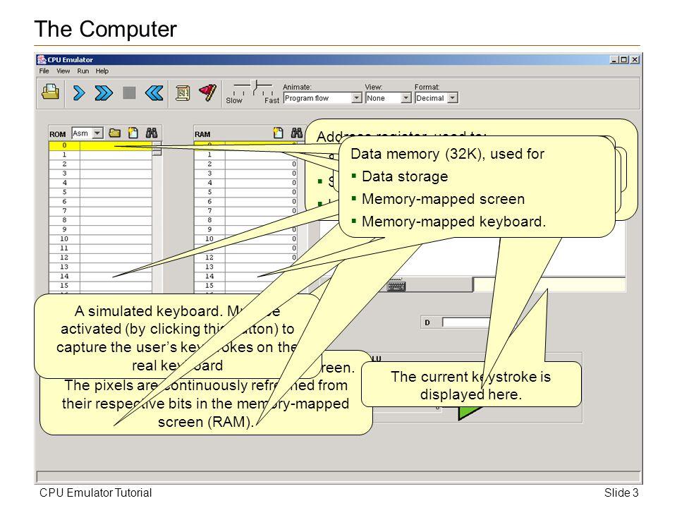 Slide 3CPU Emulator Tutorial 256 by 512, black & white, simulated screen.