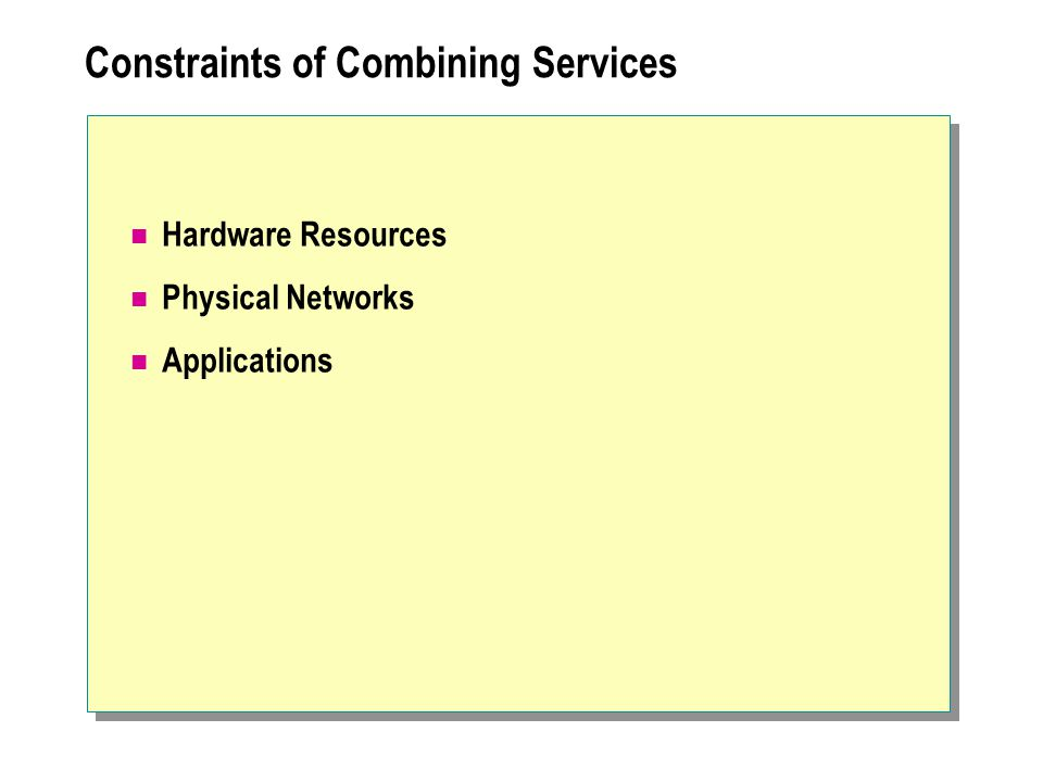 Constraints of Combining Services Hardware Resources Physical Networks Applications