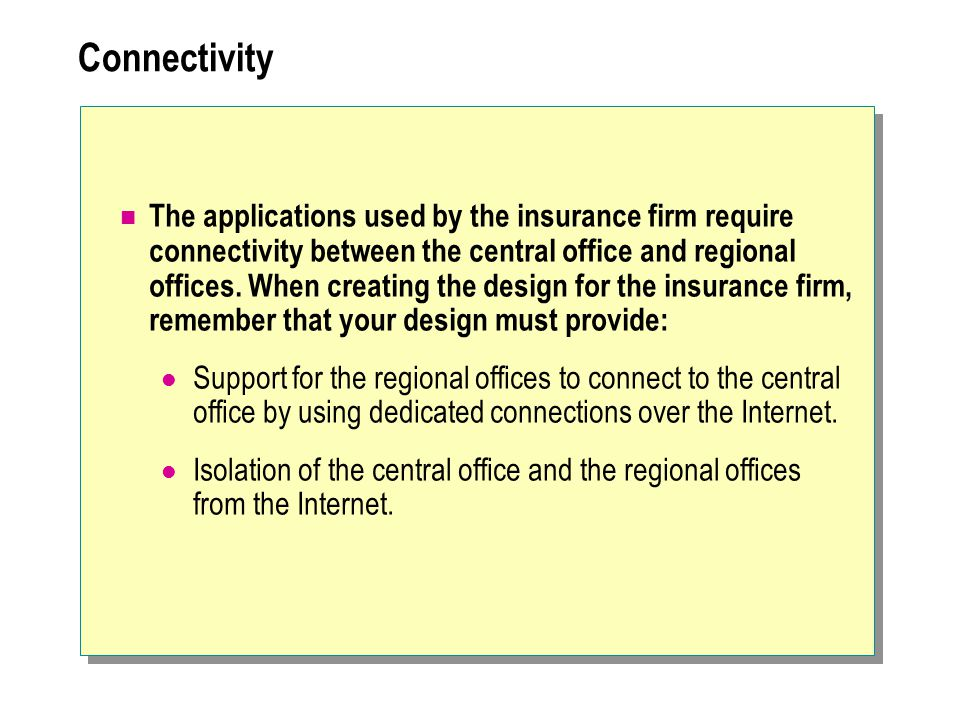 Connectivity The applications used by the insurance firm require connectivity between the central office and regional offices.