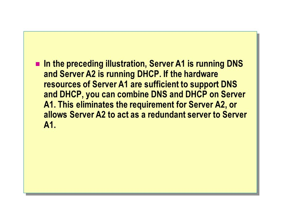 In the preceding illustration, Server A1 is running DNS and Server A2 is running DHCP.