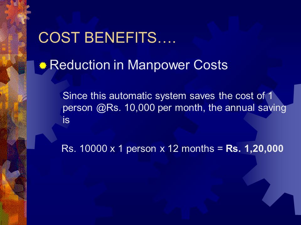 COST BENEFITS….  Reduction in Manpower Costs Since this automatic system saves the cost of 1 person @Rs. 10,000 per month, the annual saving is Rs. 1