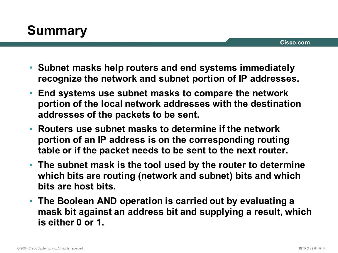 © 2004 Cisco Systems, Inc. All rights reserved. INTRO v2.0—5-14 Summary Subnet masks help routers and end systems immediately recognize the network an