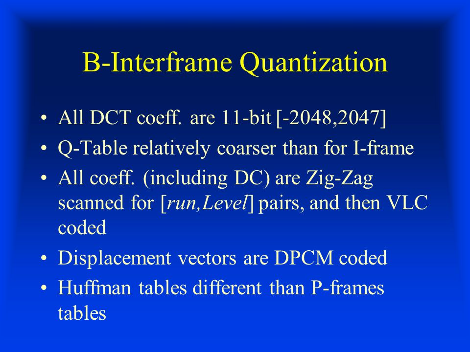 B-Interframe Quantization All DCT coeff.