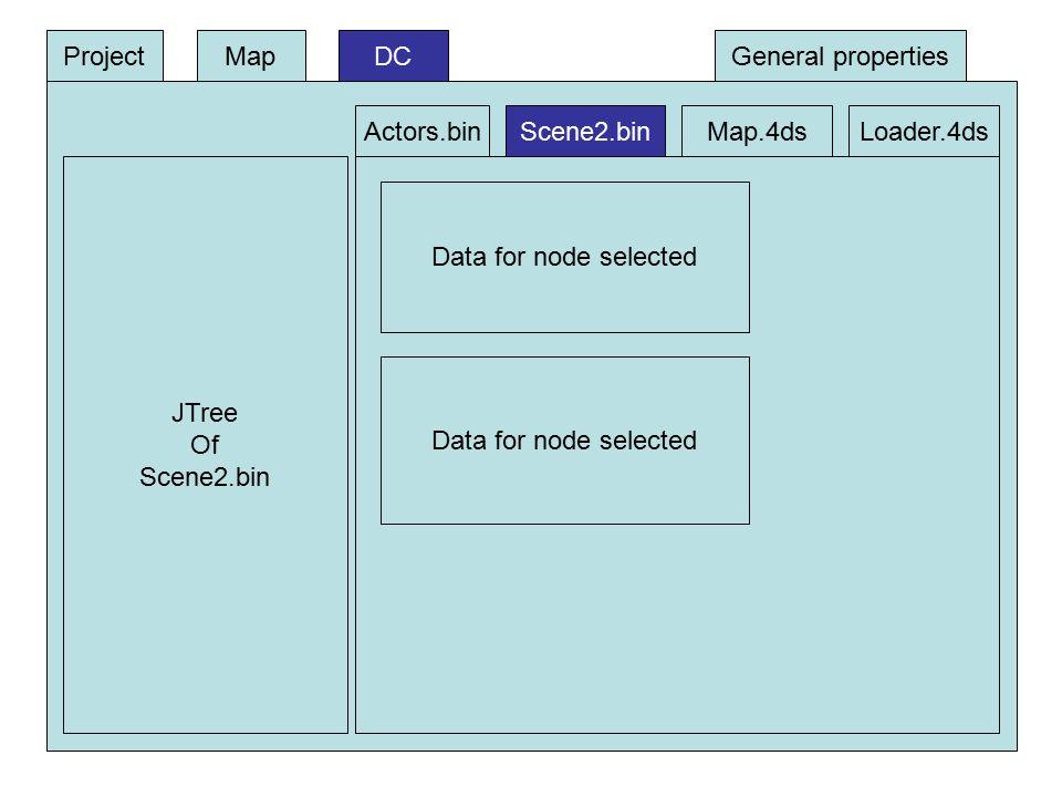DC JTree Of Scene2.bin Data for node selected ProjectMap Actors.binScene2.binMap.4dsLoader.4ds General properties